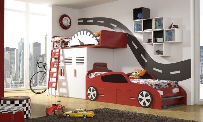 Einrichtungsideen Kinderzimmer Jungenzimmer Auto Bett Regalsystem Weiß Rot