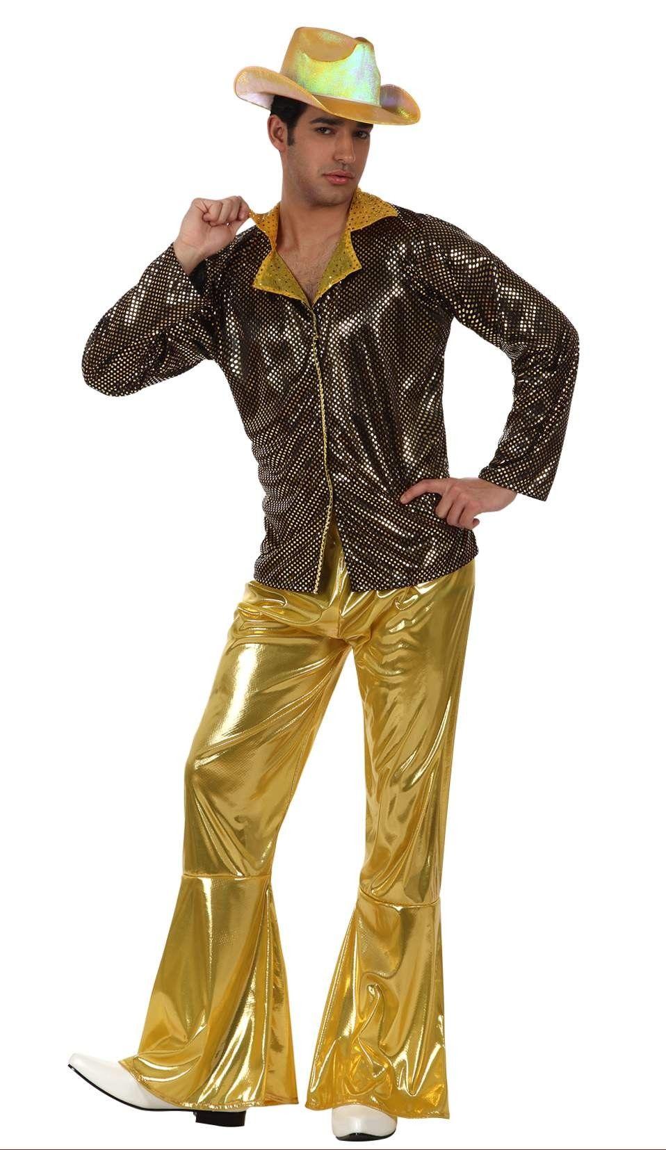 3a1083aeda Disfraz de disco dorado para hombre  Este disfraz de disco para hombre  incluye una camisa