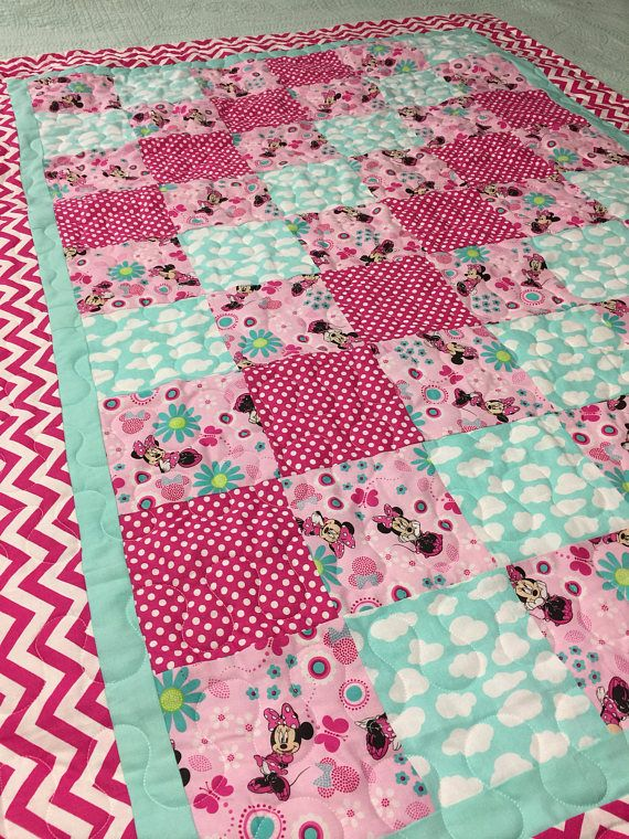 Minnie Mouse Crib Quilt Reserved for Heather | Sewing | Pinterest ...