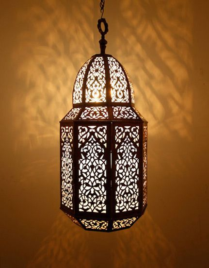 Antique Brass Moroccan Pendant Lamp with Frosted Windows