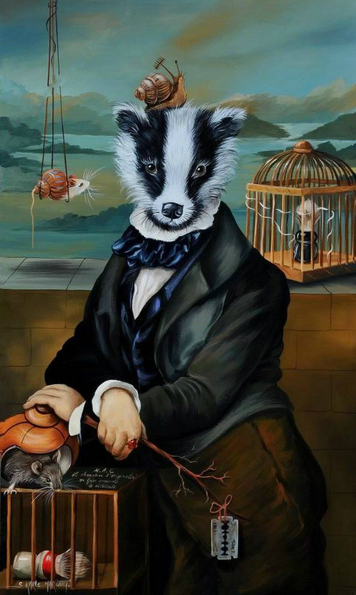 Anthropomorphic painting of a badger in a suit by Sylvia