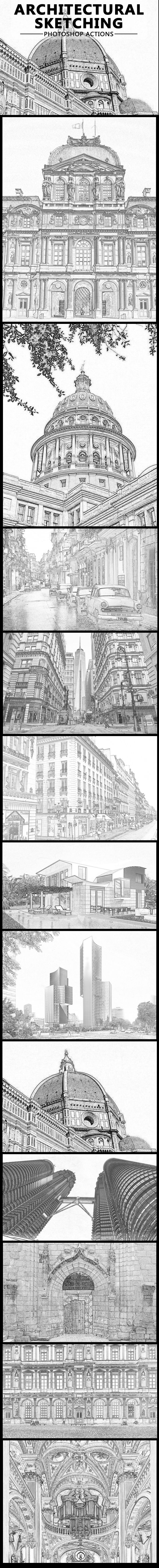 Architectural Pencil Sketching Photoshop Action - Actions