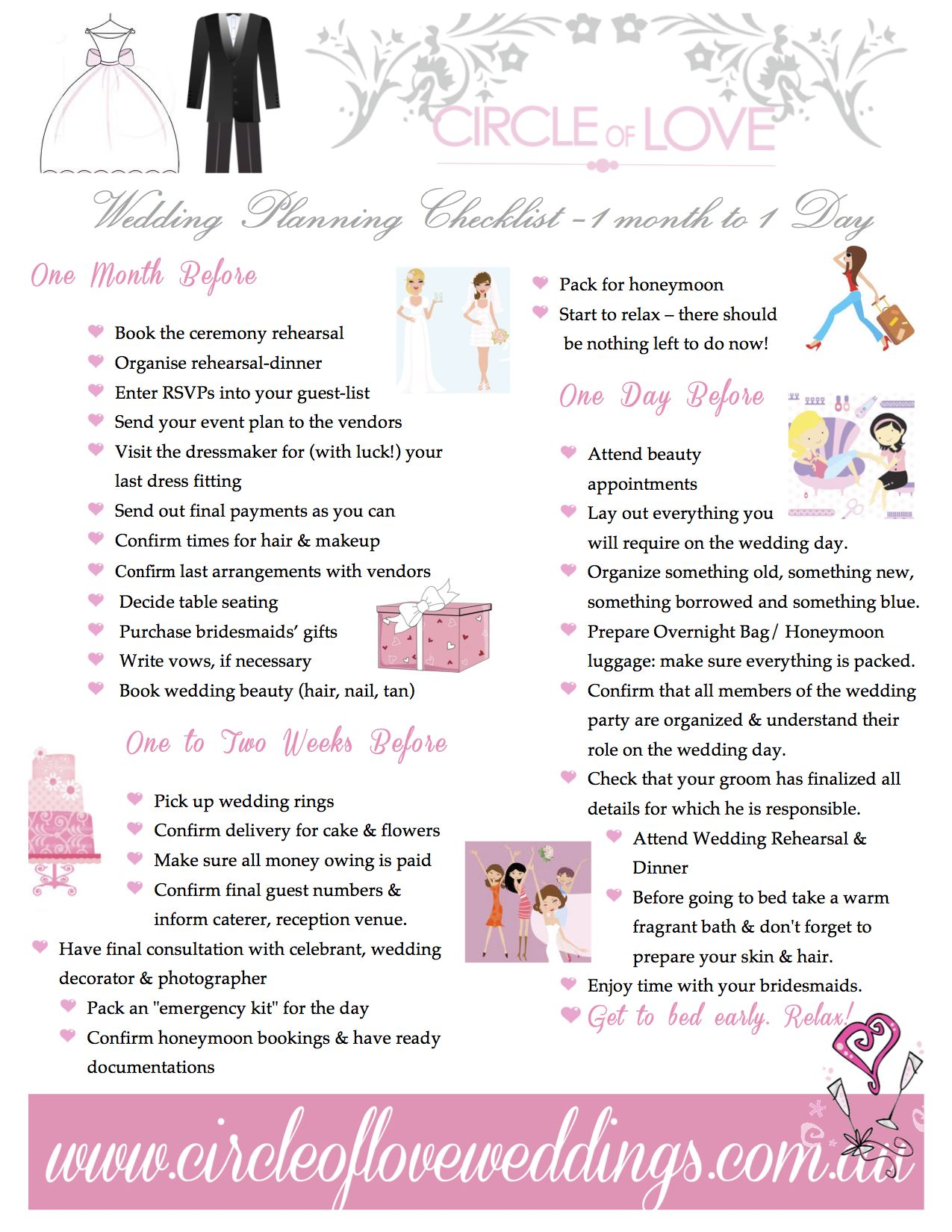 3 Wedding Planning Checklist 1 Month Before Our Free Timeline Checklists Created By Www Circleofloveweddings Au