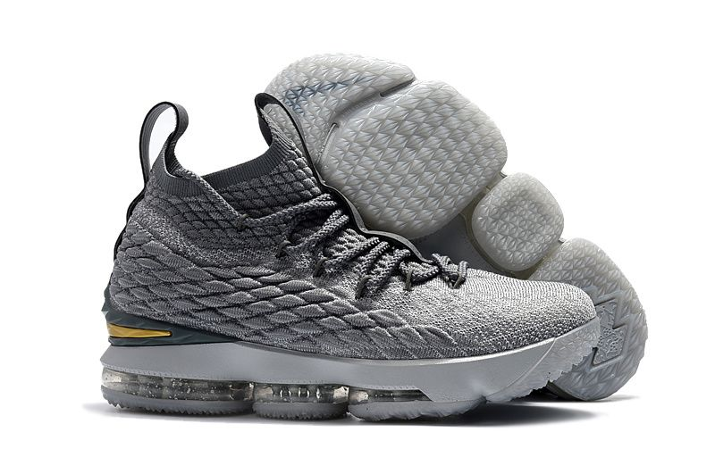 5f719f6b967 Mens Nike LeBron 15 XV EP Basketball Shoes City Edition Grey Gold ...