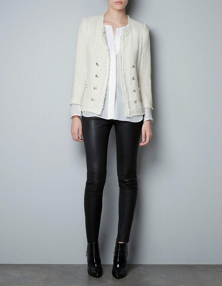 73af04b0 New with Tags Zara Tweed Boucle Fantasy Jacket Blazer in Cream Size Large # ZARA #BasicJacket