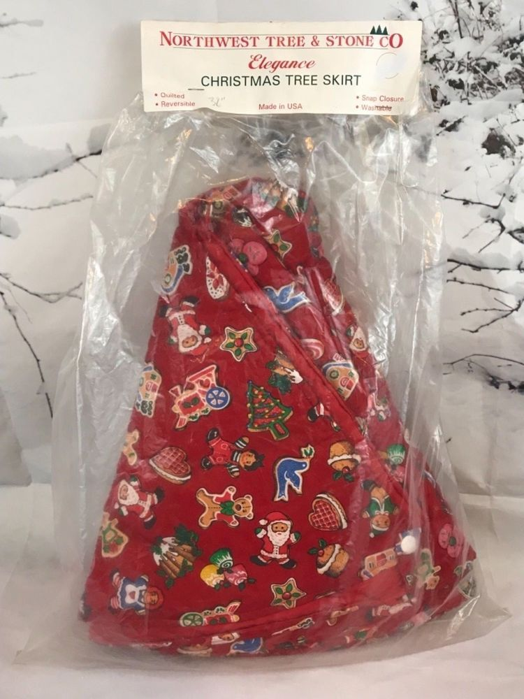 Red Christmas Tree Skirt Quilted Vintage Northwest Tree And Stone Co