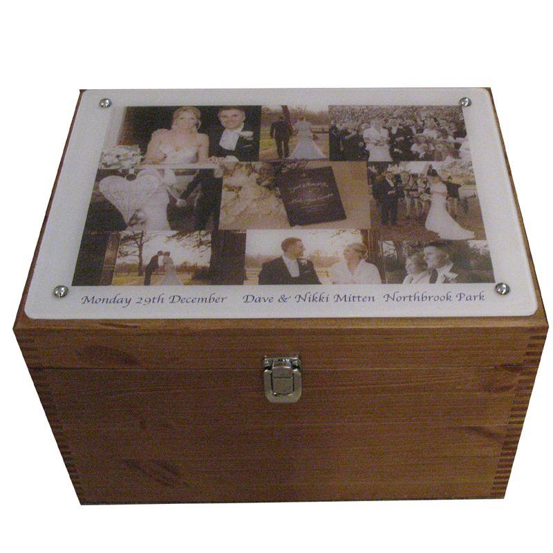 personalised xl wedding keepsake box with collage of photographs on
