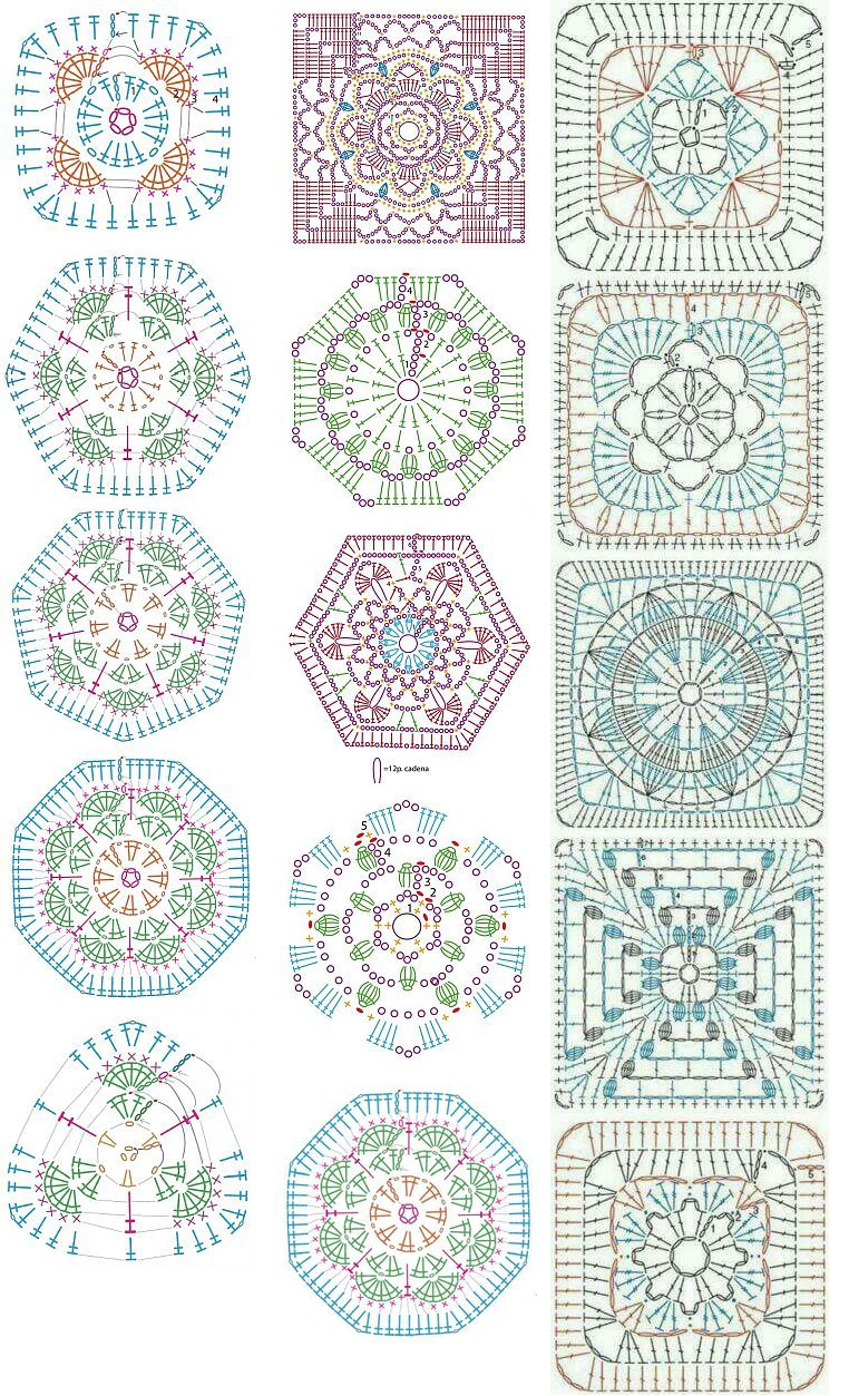 Granny and other motifs, stitches...