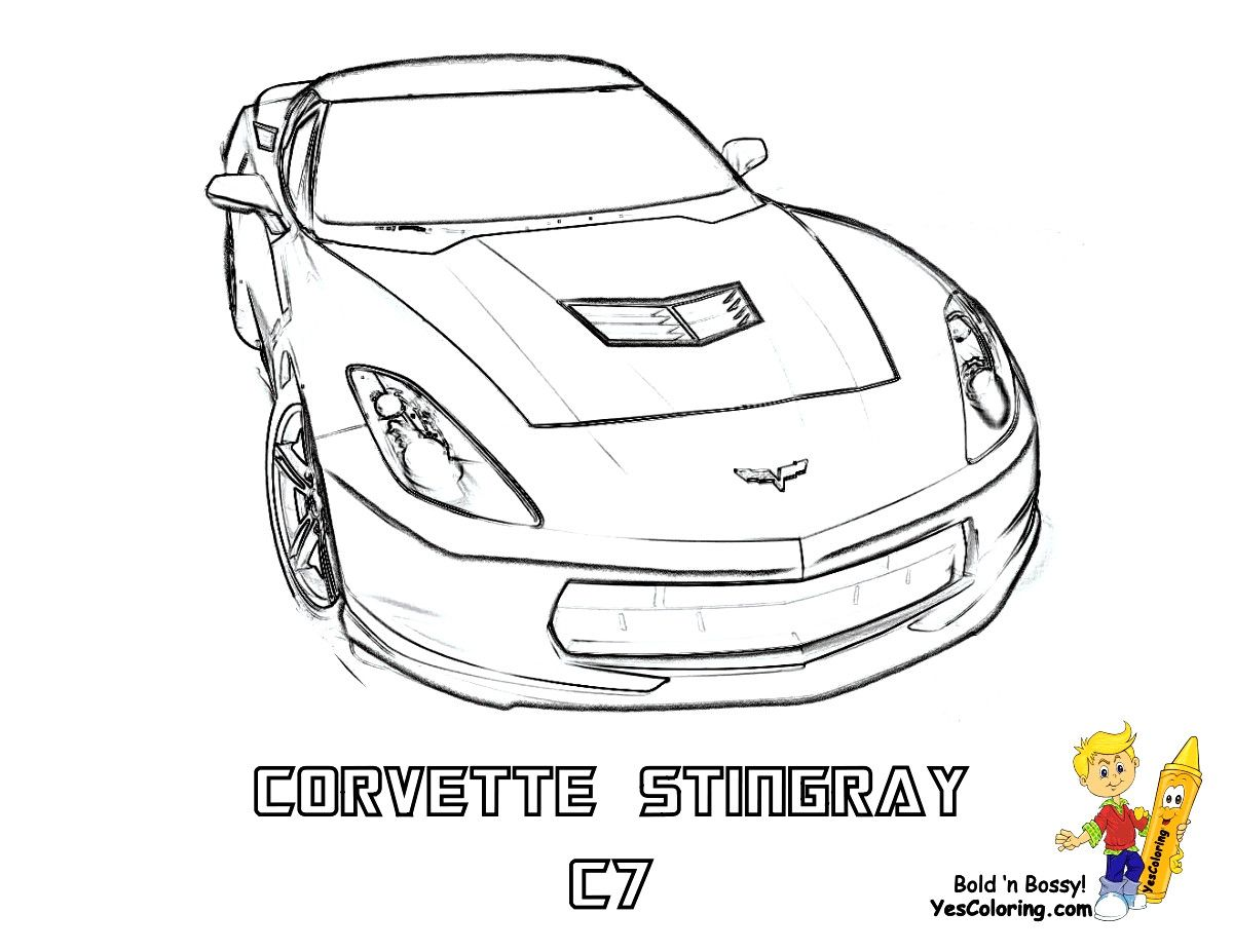 2015 Corvette Coloring Pages Within Cars Coloring Pages