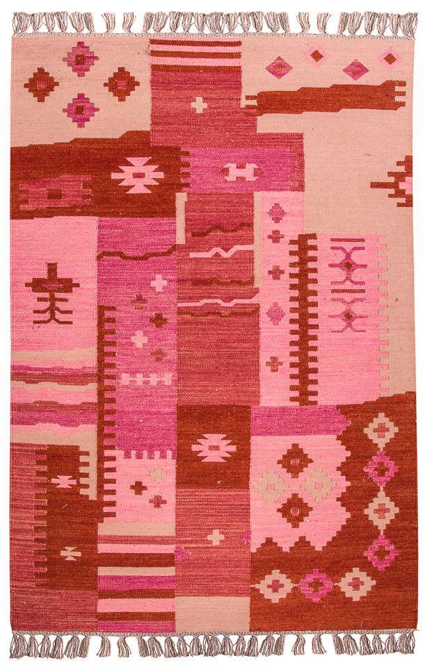 Teppich Vintage Kelim Kurzflor 200 X 140 Cm Rot Rosa Flachgewebe