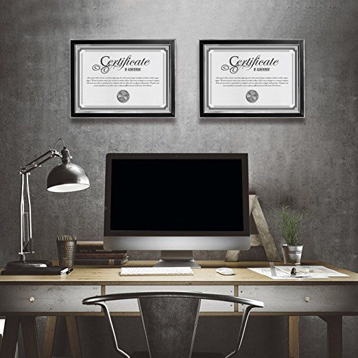 Set of 2 Piece Black Giftgarden Picture Frame A4 Certificate Frames for Wall or Tabletop Display