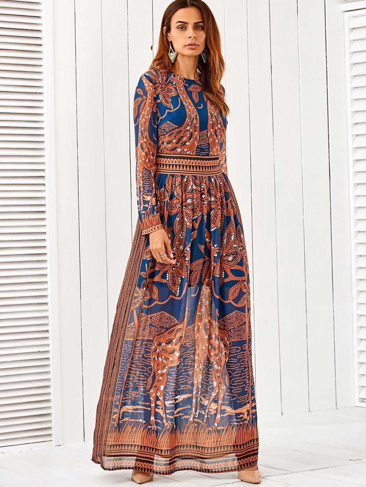 Giraffes Print Vintage Maxi Dress BLUE: Maxi Dresses | ZAFUL