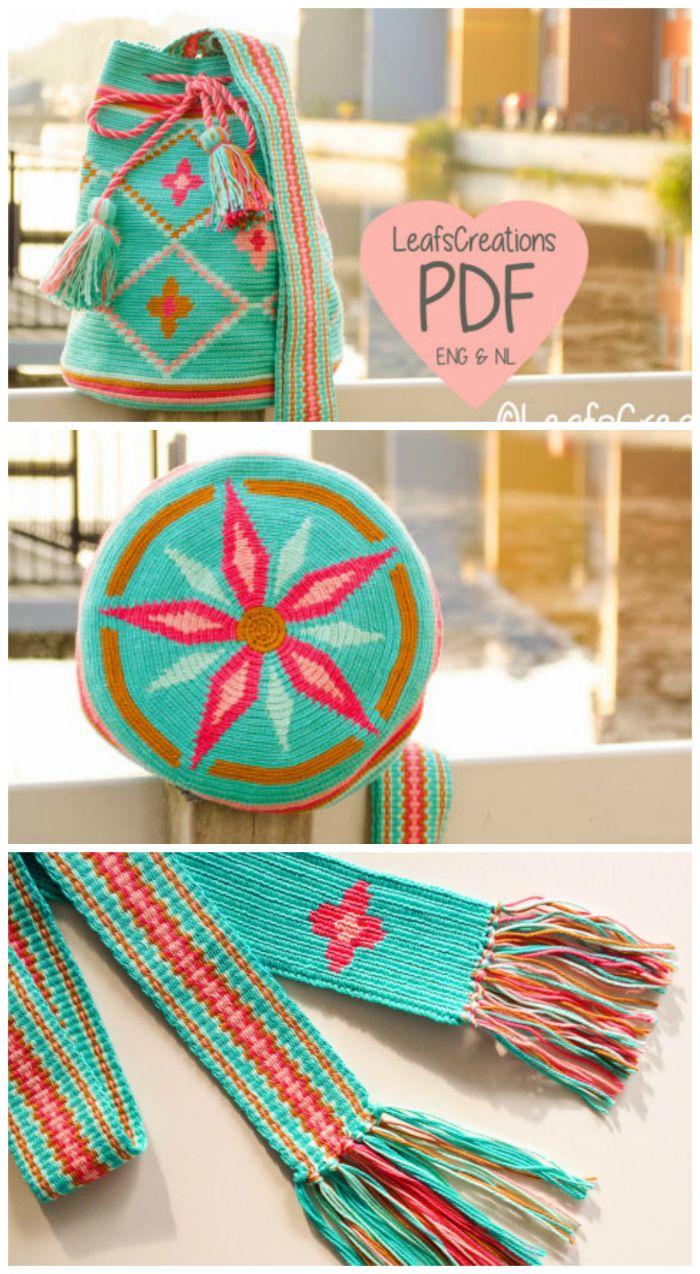 Crochet pattern Mochila bag with flowers Mochila crochet pattern ...