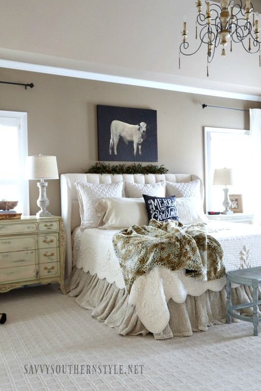 Southern Farmhouse Bedroom Ideas: The Christmas Master With Black Accents