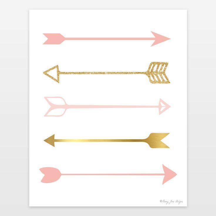 Arrow Wall Decor For Nursery : Pink and gold arrows art print for nursery decor baby
