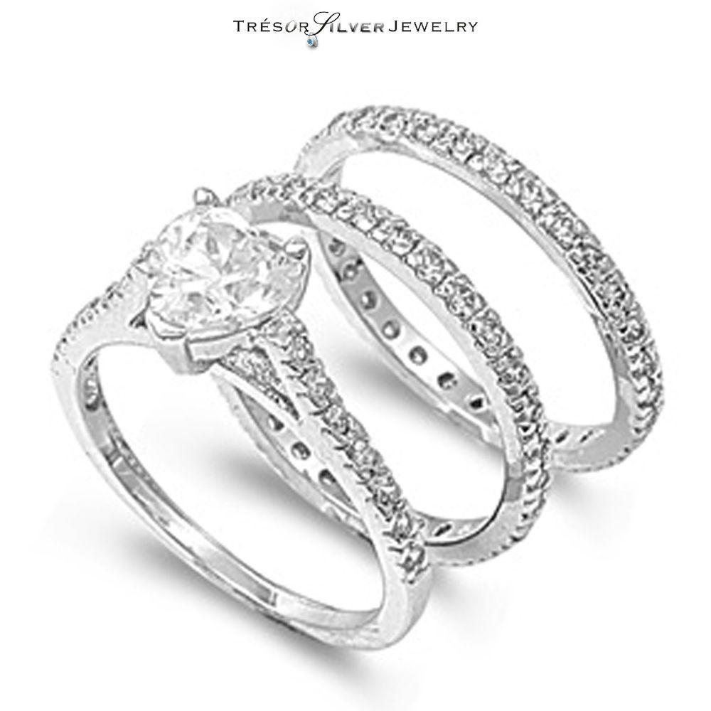 925 silver cz womens heart engagement wedding 3pc ring set
