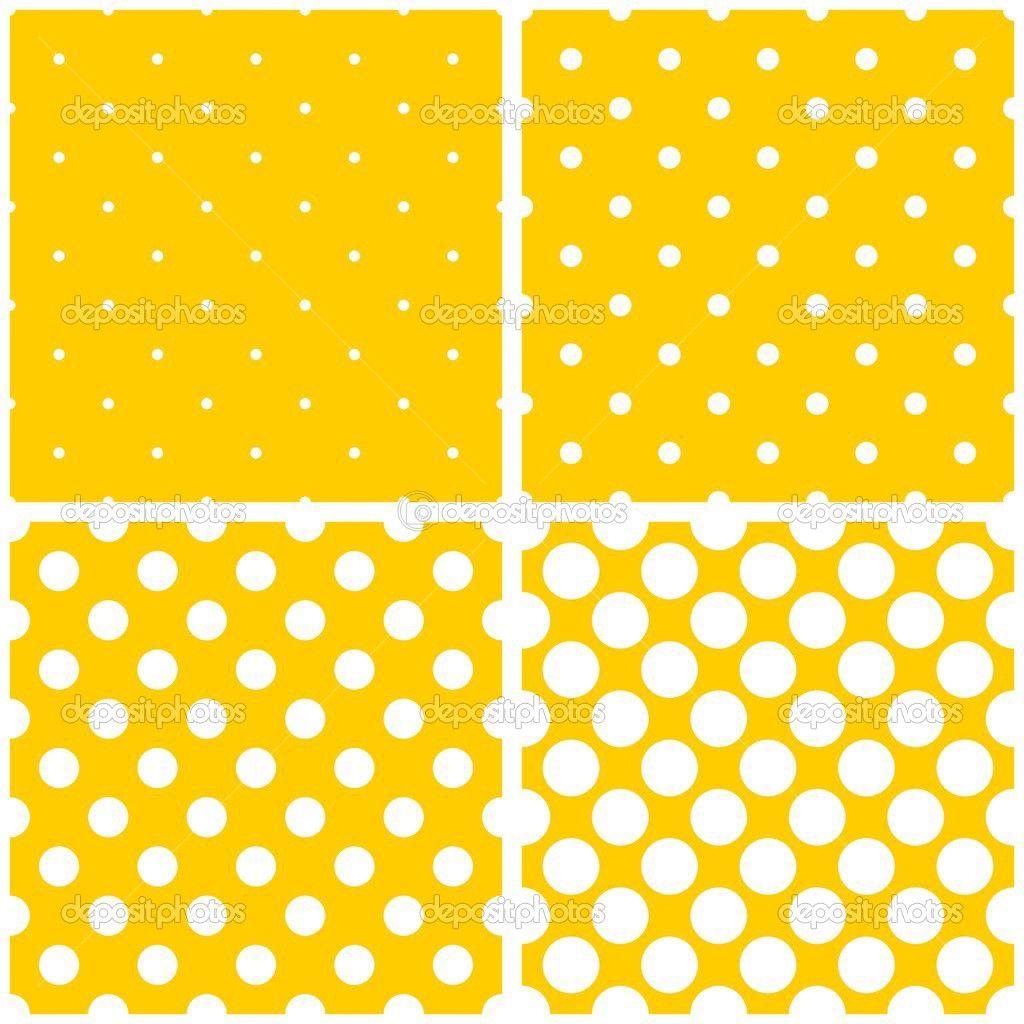 Azulejo vector patrón conjunto con lunares blancos sobre fondo amarillo soleado — Ilustración de stock #48154925