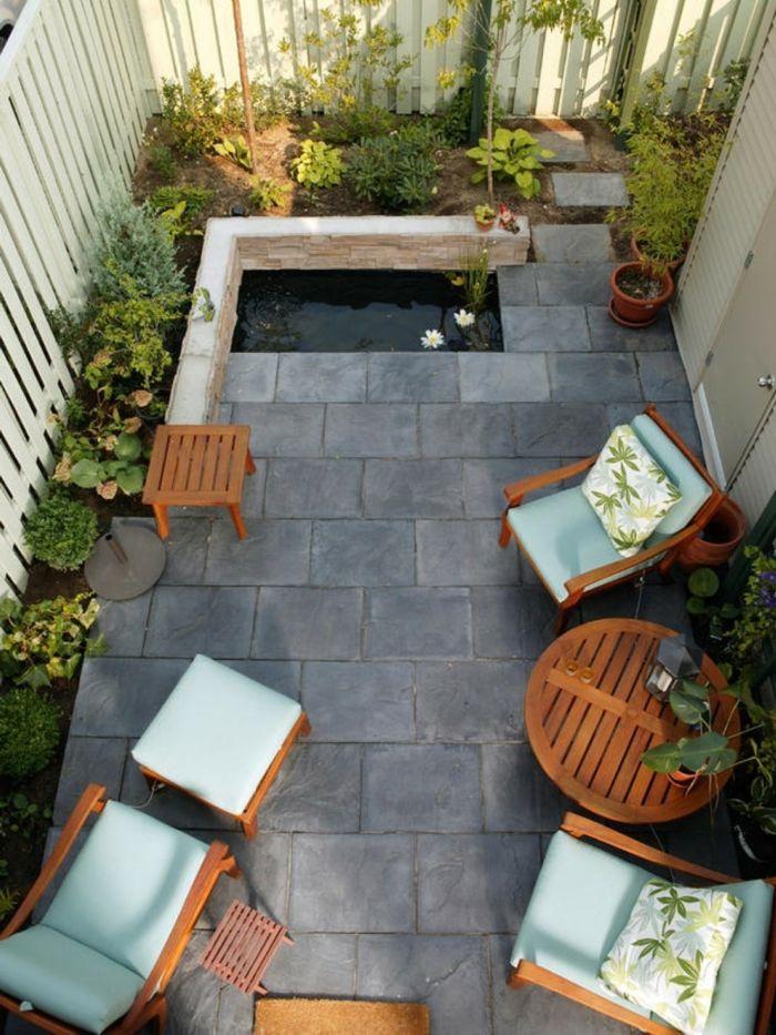Gartengestaltungsideen Pflanzen Gartenmöbel Bodenfliesen