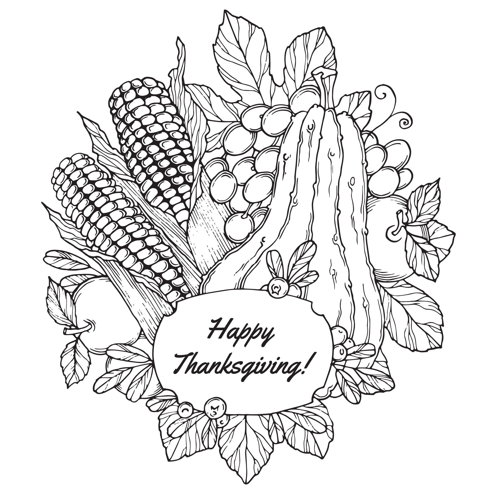 Coloring page to color in October with berries, vegetables and ...