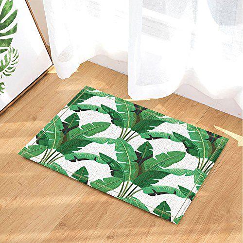 Nymb Wallpaper Decor Tropical Leaves Palm Bath Rugs Non Https Www Amazon Com Dp B073p5sq6m Ref Cm Sw R Pi Dp U X Nlw With Images Wallpaper Decor Flooring Floor Mats