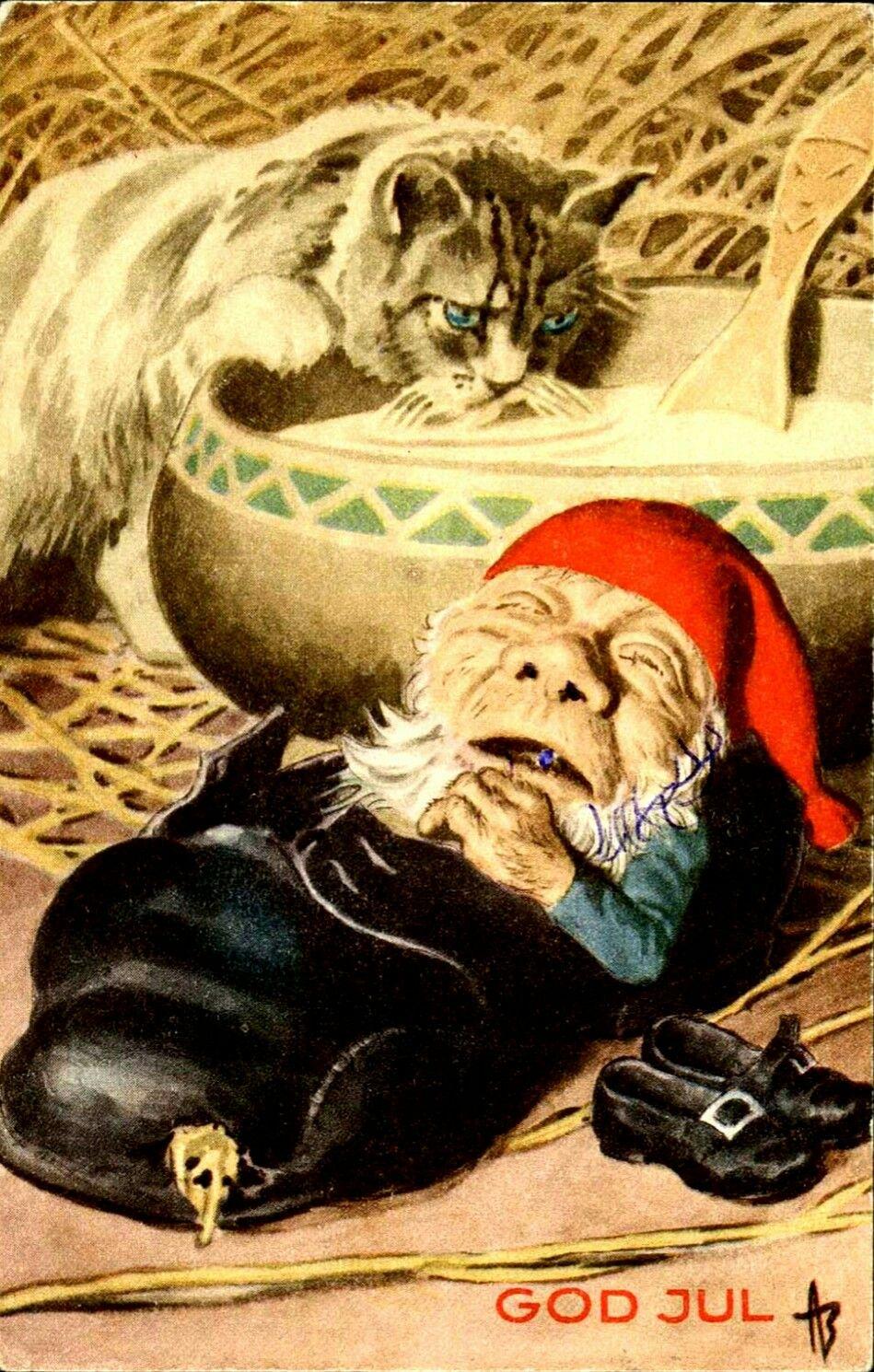 Julekort Andreas Bloch nisse sover i sko katten smaker på grøten