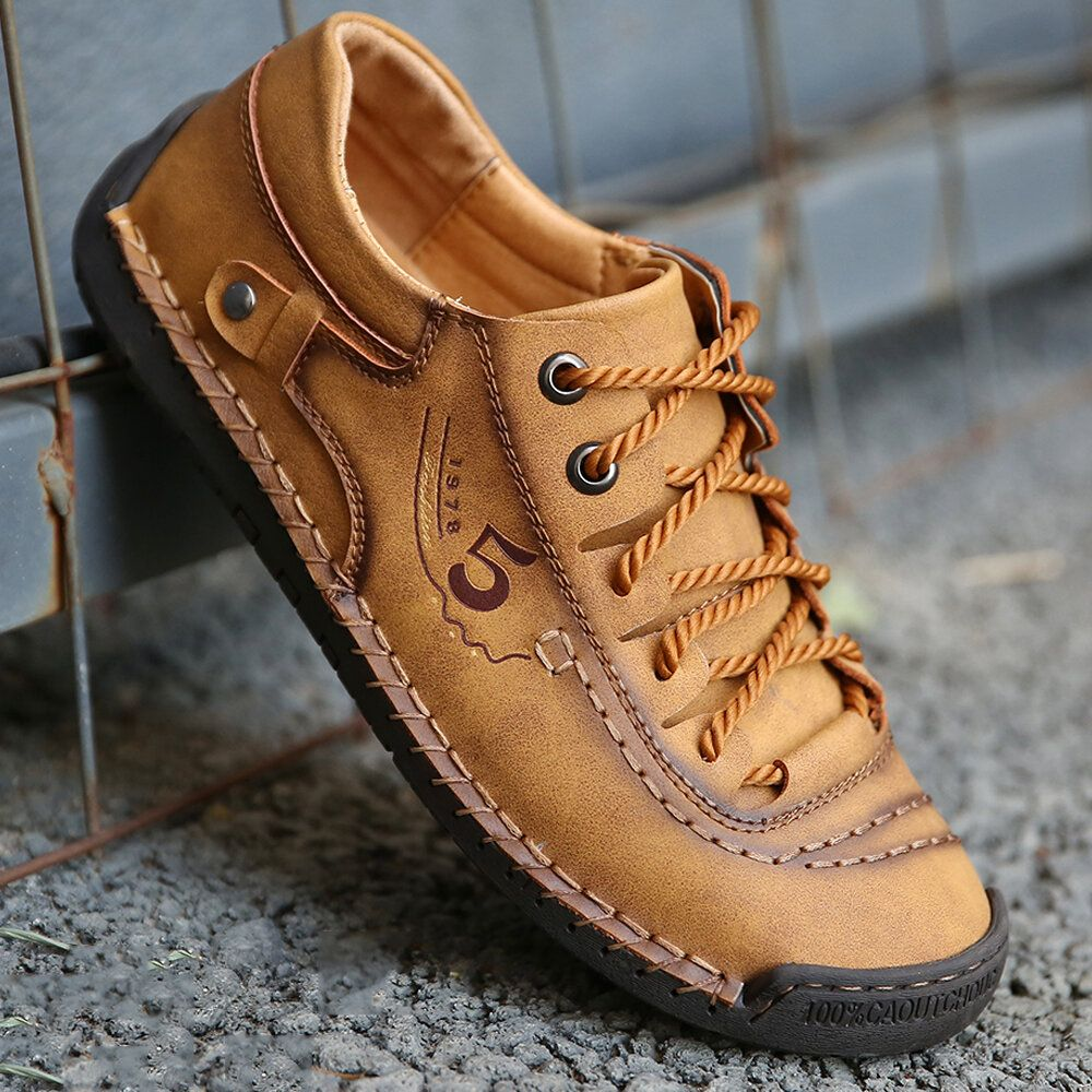Menico Menico Men Microfiber Leather Hand Stitching Comfort Soft Casual Shoes Newchic Mobile Casual Shoes Mens Boots Fashion Mens Casual Shoes