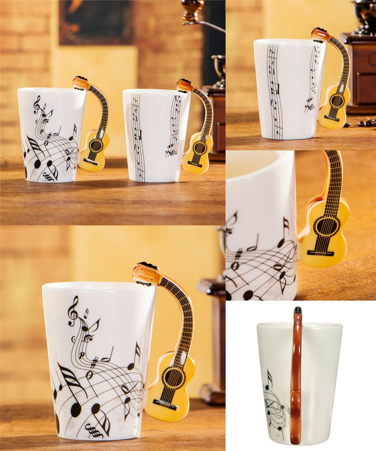 [Visit to Buy] Set of 2 Novelty Acoustic Guitar Ceramic Coffee Mugs Creative Music Note Milk Coffee Tea Cups Home Office Mugs Novelty Gifts #Advertisement
