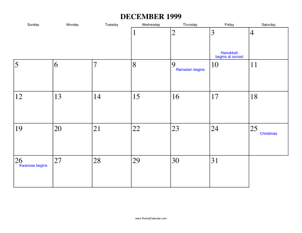 Free Printable Calendar For December 1999 View Online Or Print In