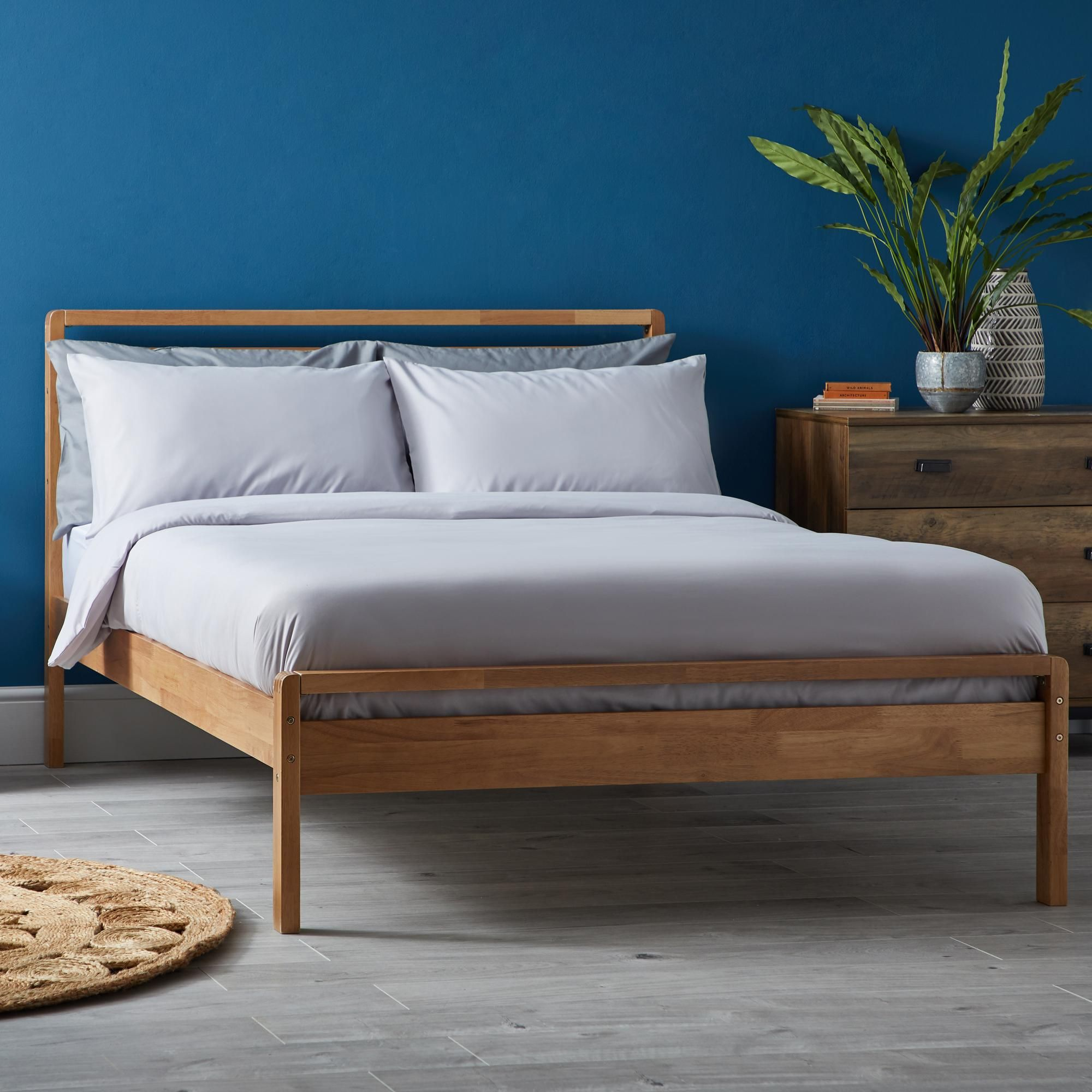 Scandi Mid Century Wooden Bed In 2020 Wooden Bed Small Bed Frame Scandi Bedroom