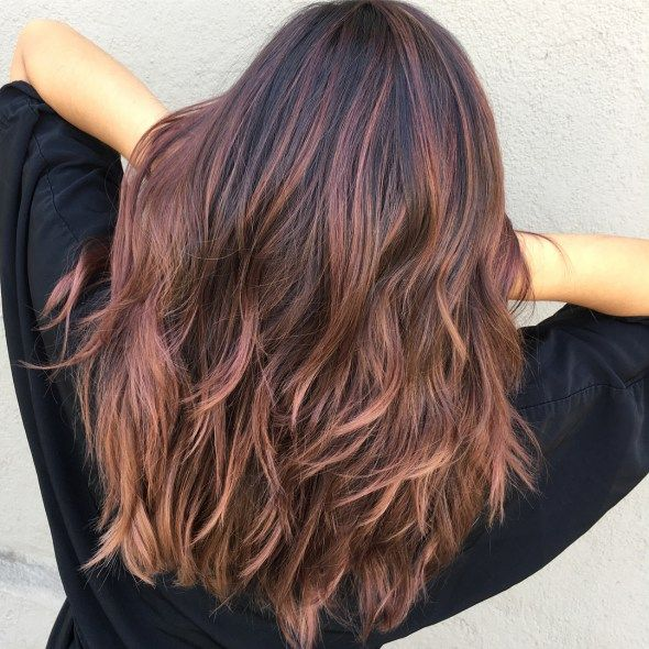 Dark Brown Hair With Rose Gold Balayage