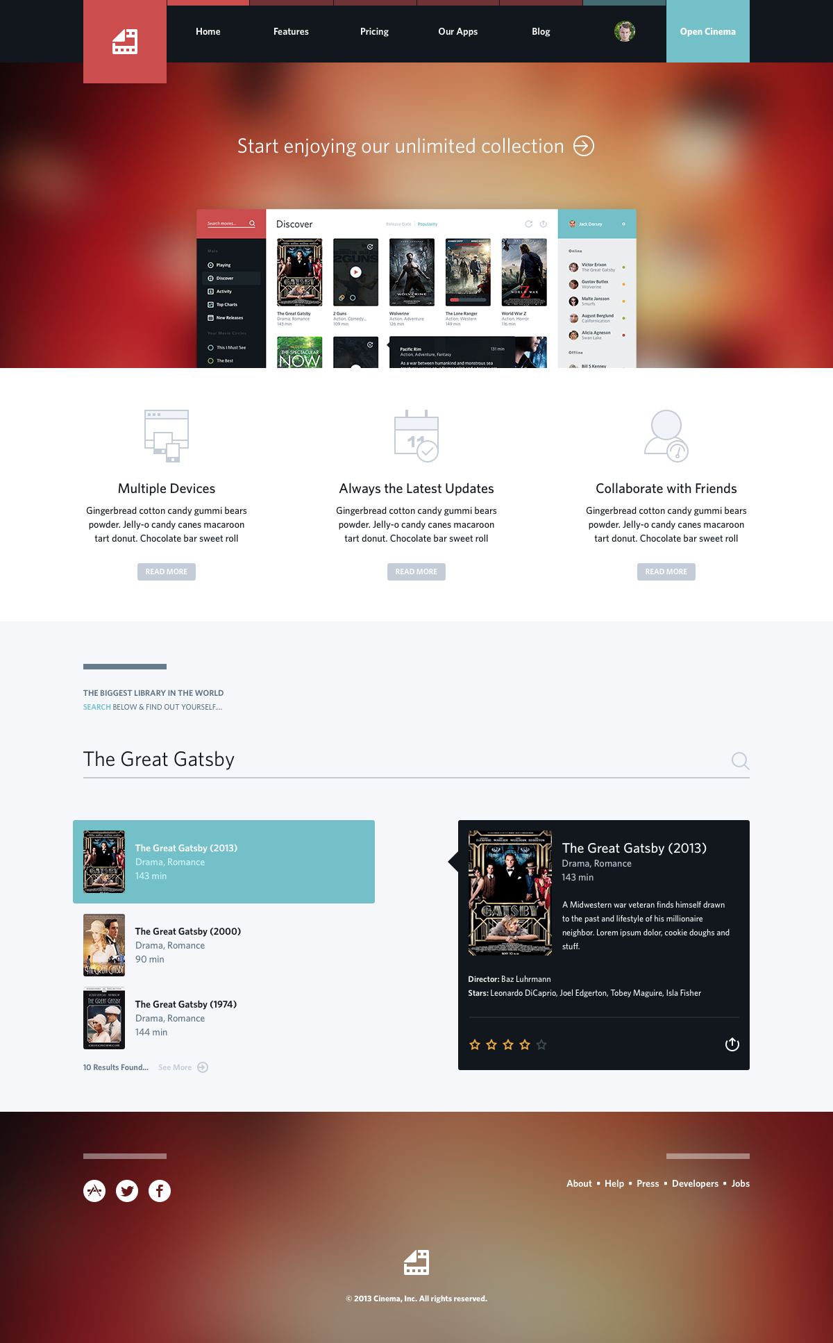 Cinema Big From Http Dribbble Com Shots 1195916 Cinema Web Attachments 158387 Web Design Gallery Fun Website Design Web Template Design