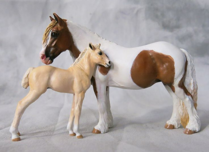 Kelly Sealey (Savage) mini pony mare and foal resins painted by Elizabeth Bouras /Amarna Productions (2014), owned by Jenna Stacey