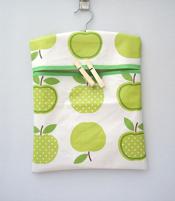 Apple Design Peg Bag PVC Fabric in Green or Red Utility Laundry