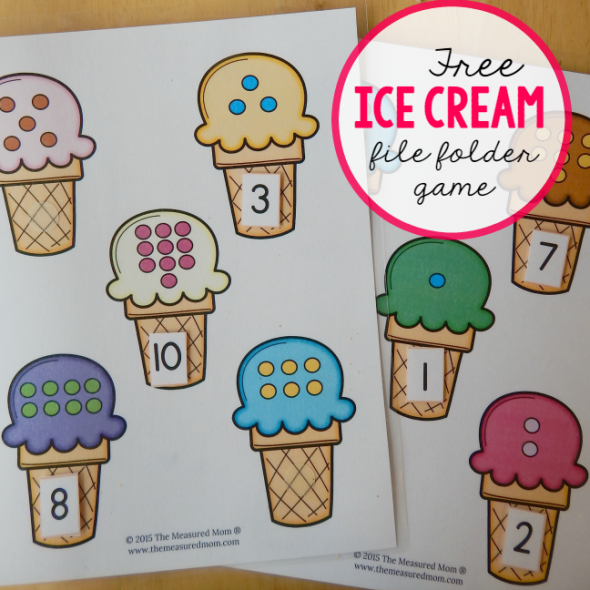 Free file folder game for preschoolers Ice Cream Count