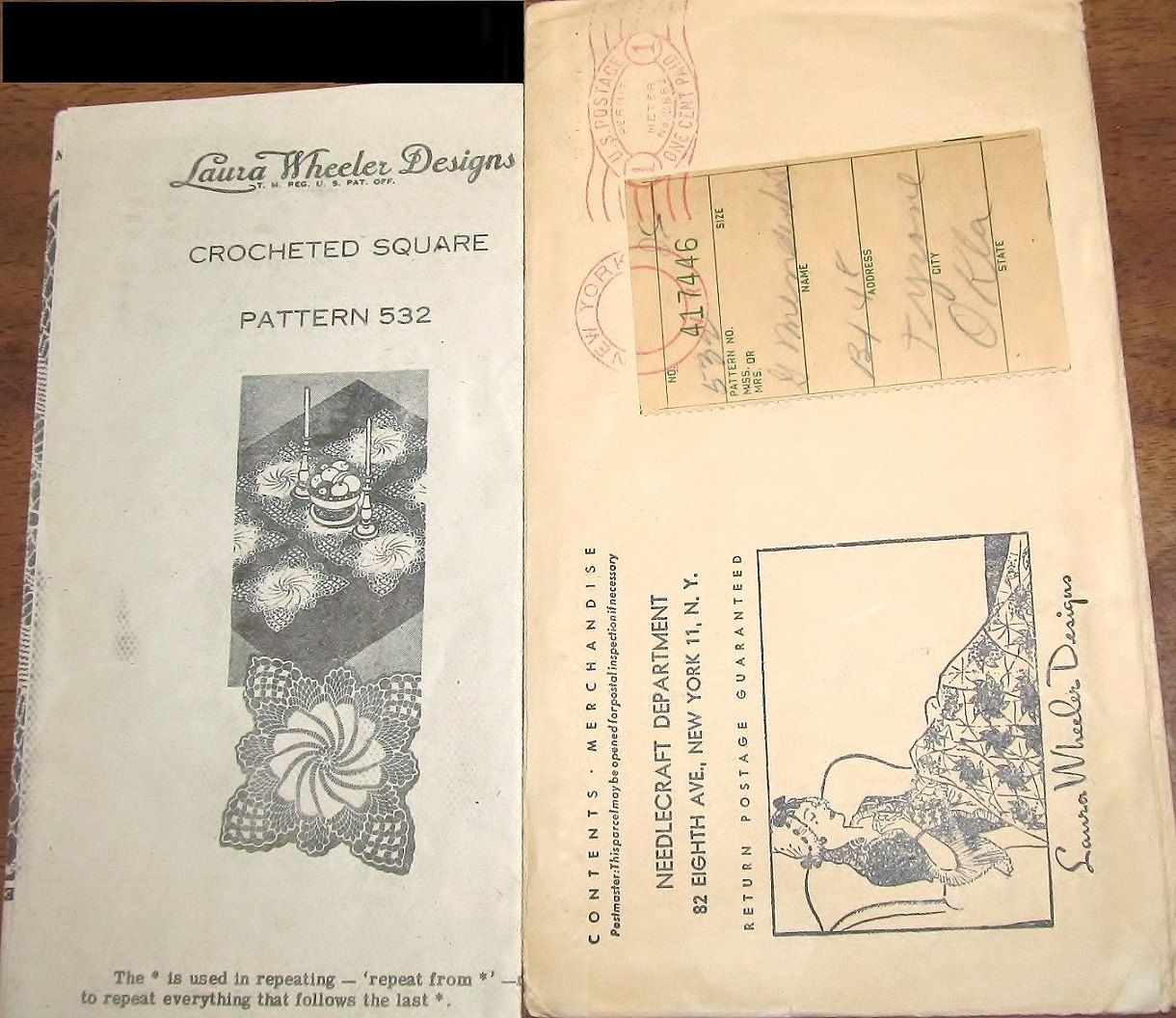 Vintage 1940s laura wheeler mail order crochet pattern pinwheel vintage 1940s laura wheeler mail order crochet pattern pinwheel swirl doily thread lace square doilies bankloansurffo Gallery