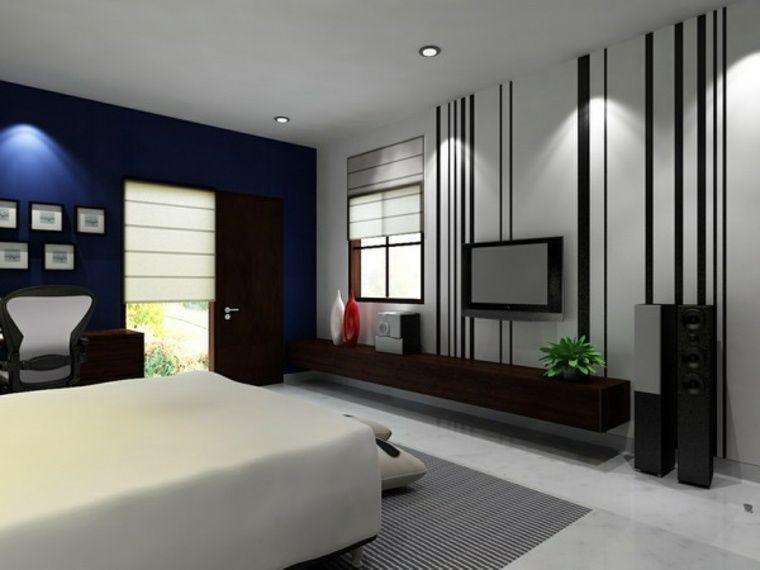 chambre à coucher moderne avec murs en bleu foncé, noir et blanc