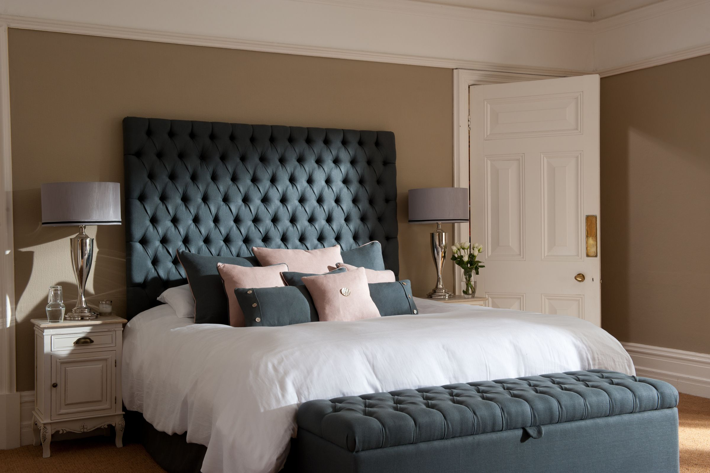diamond tufted chesterfield style headboard and matching
