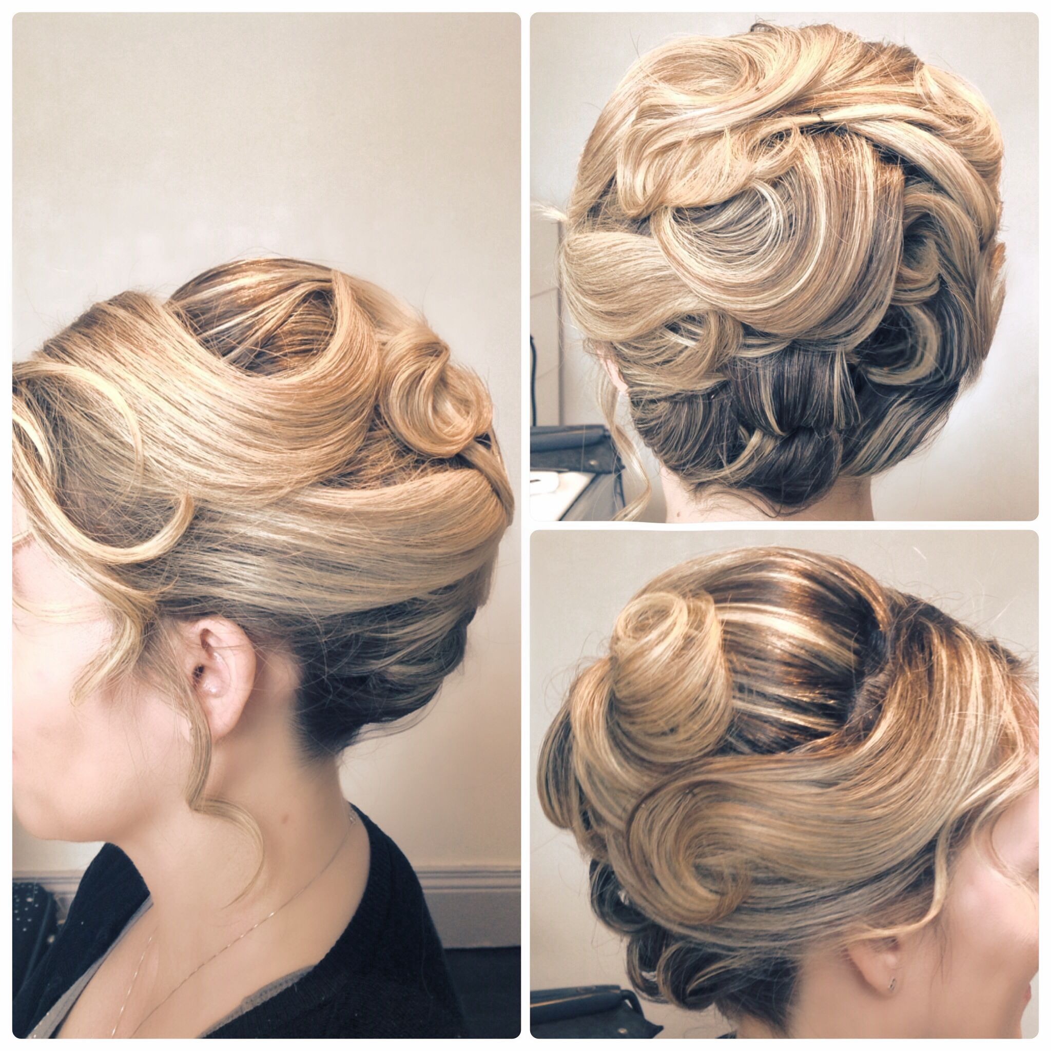 Wedding hair bride bridal roll upstlye texture, waved, short hair