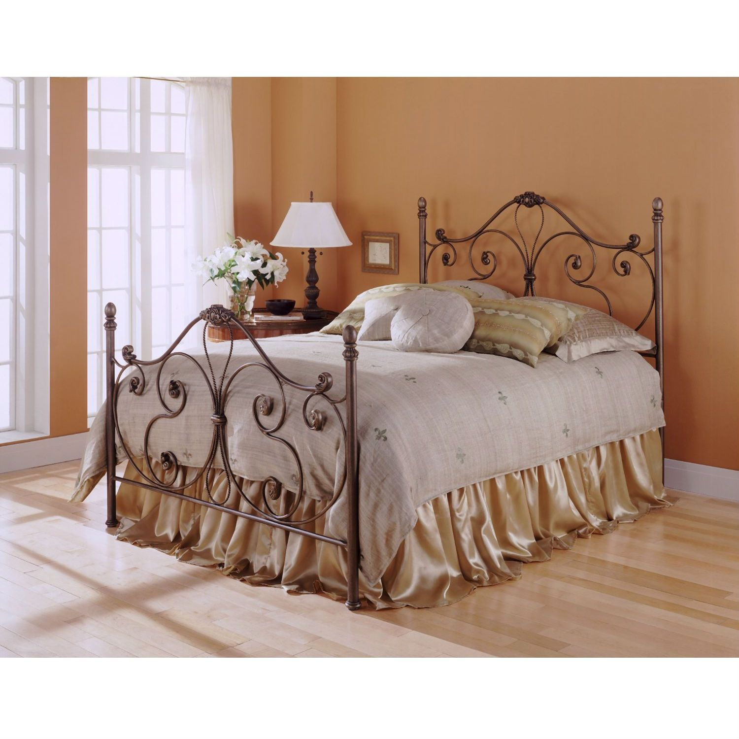 Queen Size Metal Bed With Headboard And Footboard In Majestic