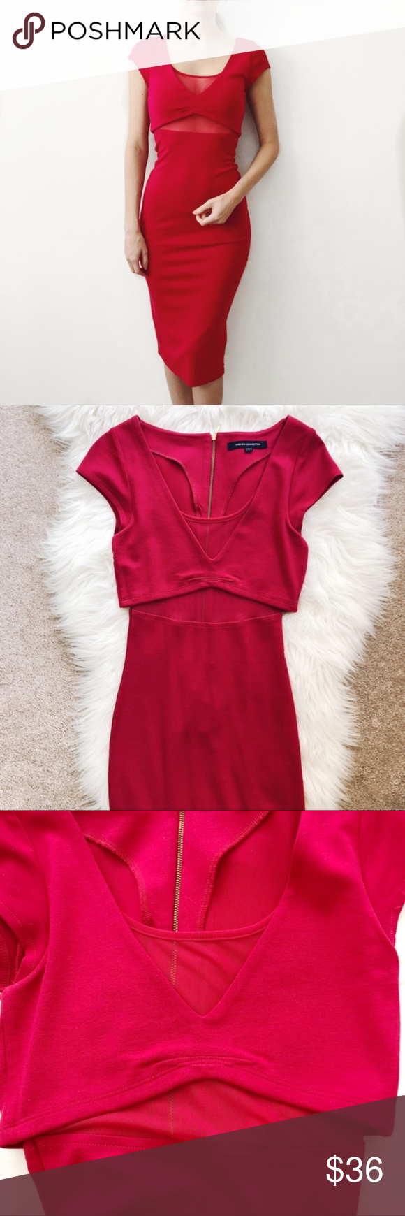 French Connection Hot PinkRed Dress Size   My Posh Picks