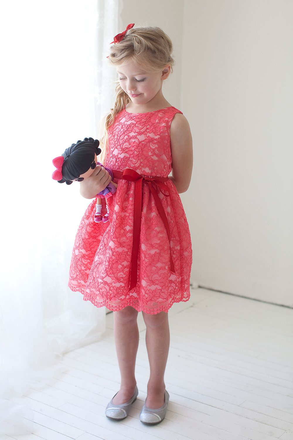 cb99d551605e lace flower girl dresses in ivory and navy | Coral Lace Flower Girl Dress  with Sash