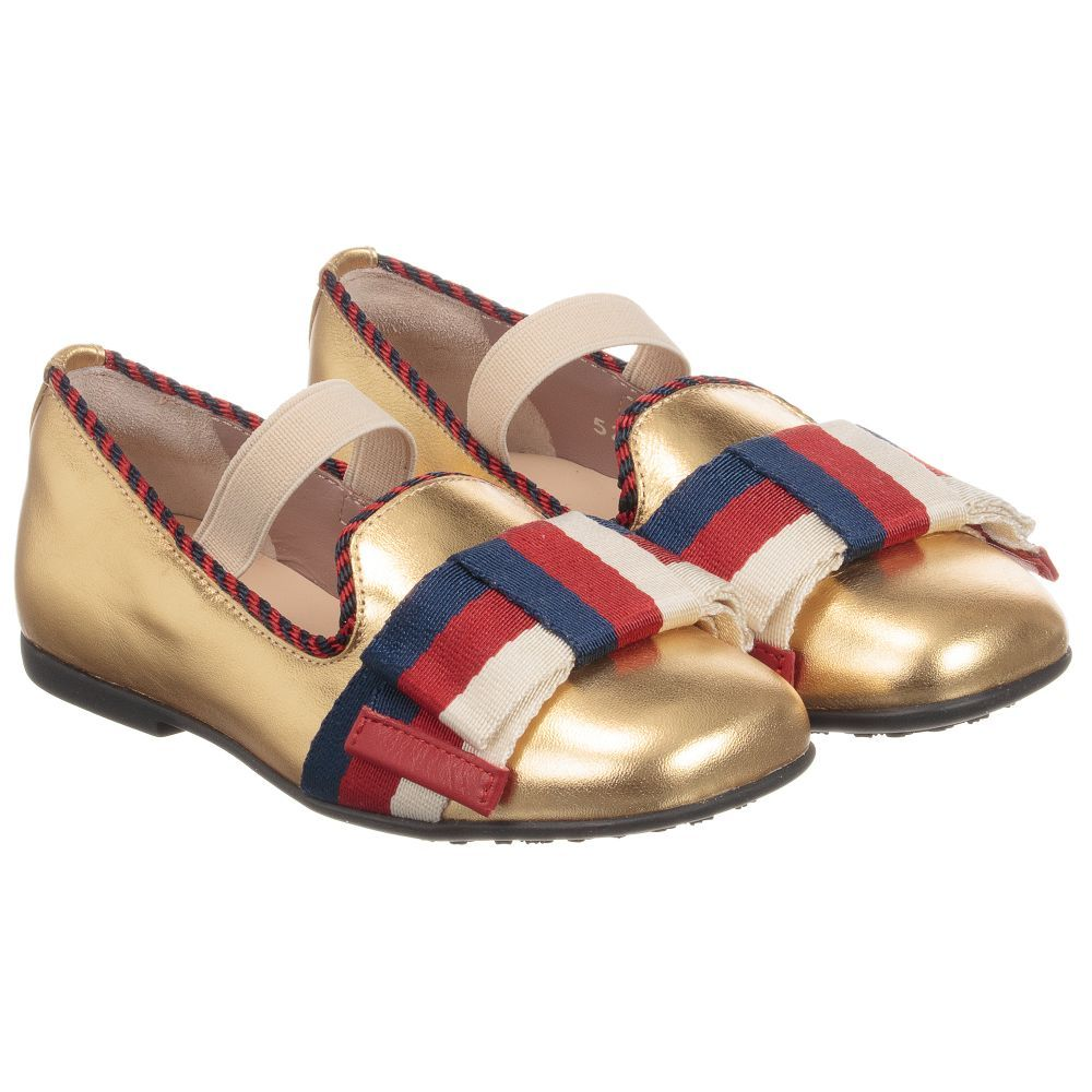 2cdbbacc405f12 Girls metallic gold leather shoes by Italian luxury brand