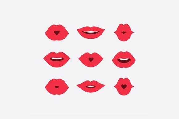 Women Lips Icon Set