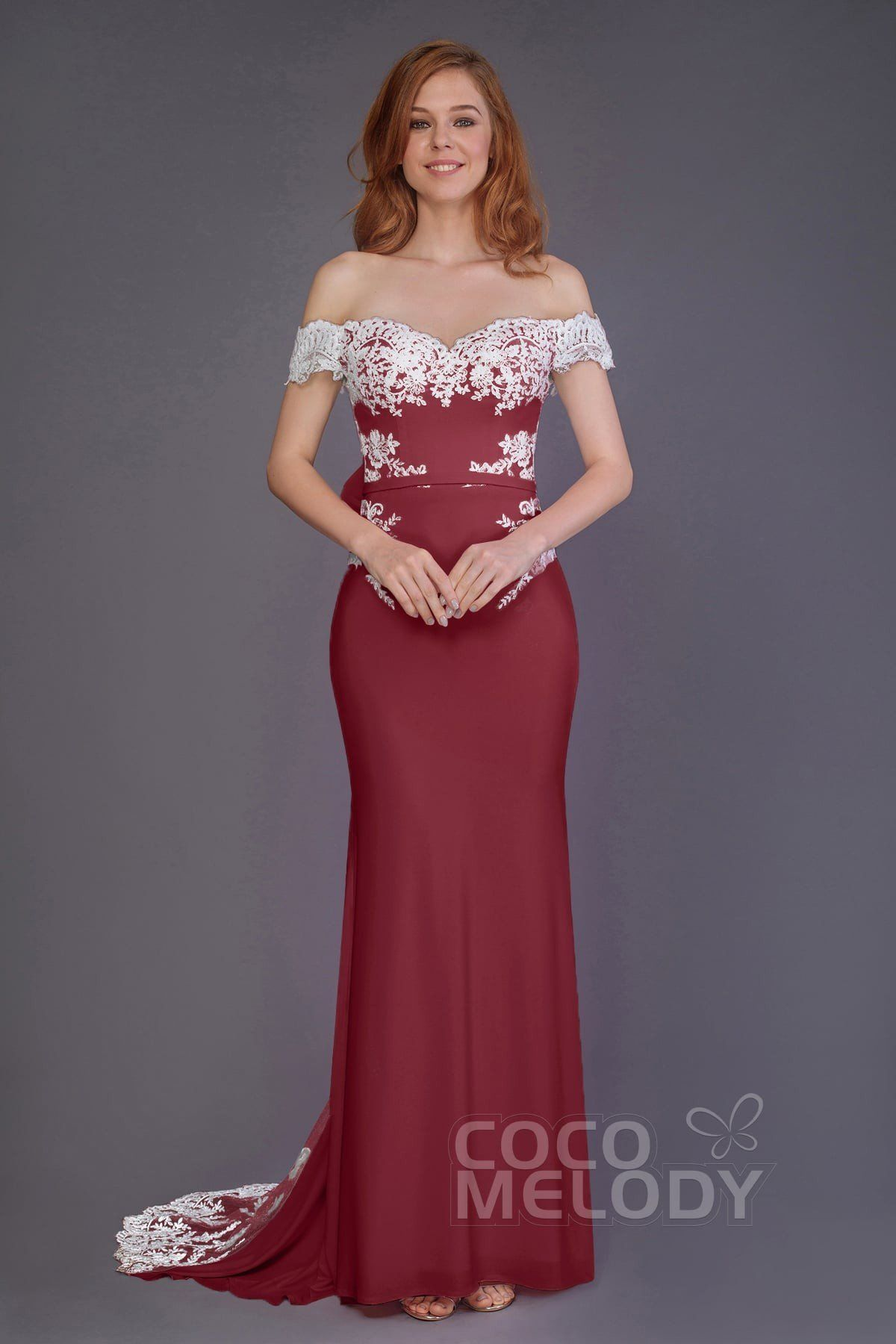 a58a7654b018 Trumpet-Mermaid Sweep-Brush Train Bridesmaid Dress #PR3491   Cocomelody  #cocomelody #bridesmaiddress #weddingpartygown #reddress