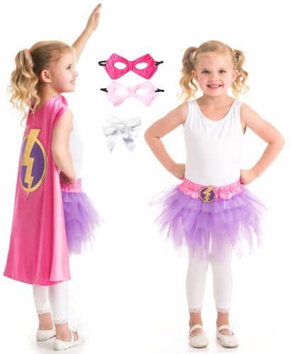 Little Adventures Pink Hero Lightning Cape, Tutu, Mask Play Costume Age 3-8 with Hairbow >>> Check out this great product.