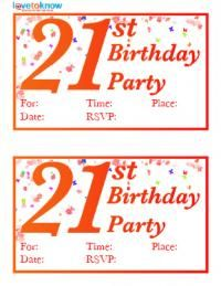Free Printable 21st Birthday Invitations