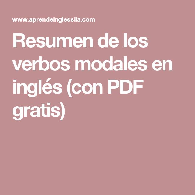 Resumen de los verbos modales en inglés (con PDF gratis) | Ingles ...