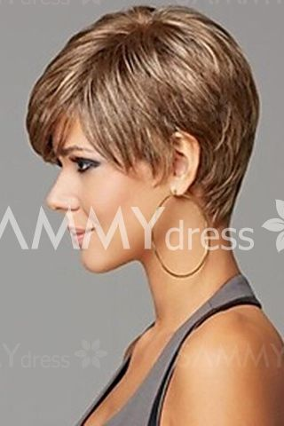 Laconic Recto natural sintético Fluffy inclinado peluca corta de la Mujer de Bang