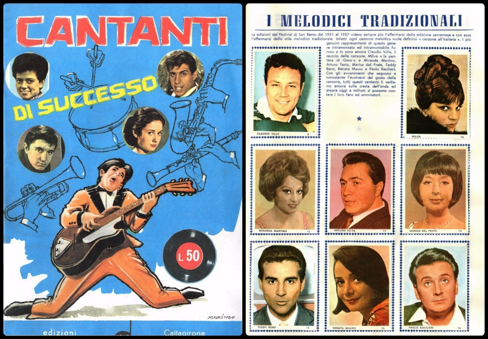 Album Figurine Ed. RITMO CALTAGIRONE, Cantanti 1957