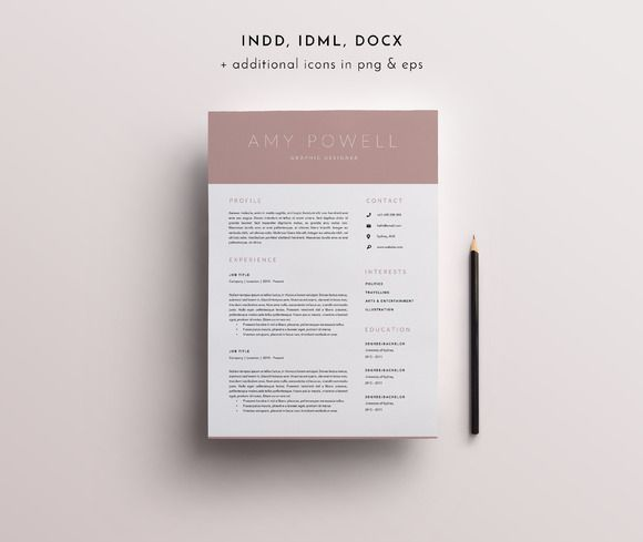 3 Page Resume Template INDD + DOCX @creativework247 Resume - resume template docx